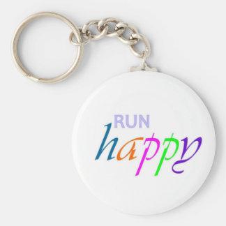 Run Happy Basic Round Button Keychain