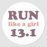 Run like a girl 13.1 round sticker