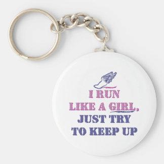 Run Like a Girl Basic Round Button Keychain