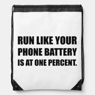 Run Like Phone Battery One Percent Drawstring Bag