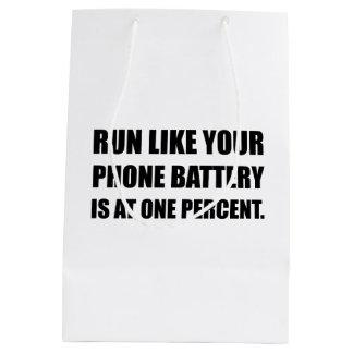 Run Like Phone Battery One Percent Medium Gift Bag