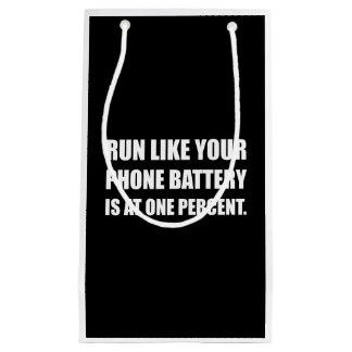 Run Like Phone Battery One Percent Small Gift Bag