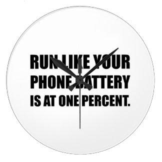 Run Like Phone Battery One Percent Wall Clock