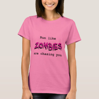 Run Like Zombies are Chasing You - Purple on Light T-Shirt