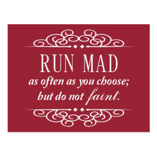 Run Mad, Do Not Faint Jane Austen Postcard (Red)