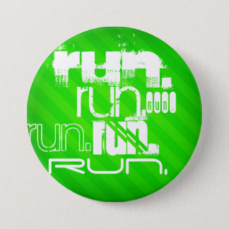Run; Neon Green Stripes 3 Inch Round Button