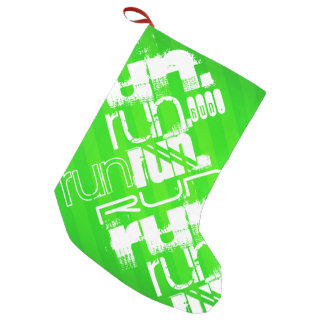 Run; Neon Green Stripes Small Christmas Stocking