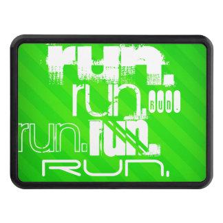 Run; Neon Green Stripes Trailer Hitch Covers