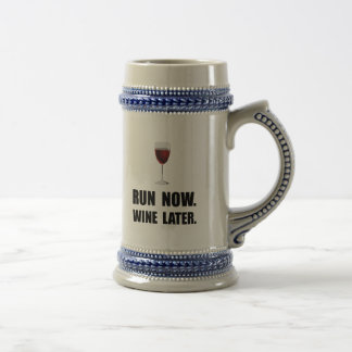 Run Now Wine Later Beer Steins