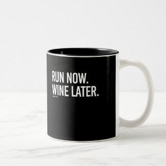Run now Wine Later -   - Gym Humor -.png Two-Tone Coffee Mug