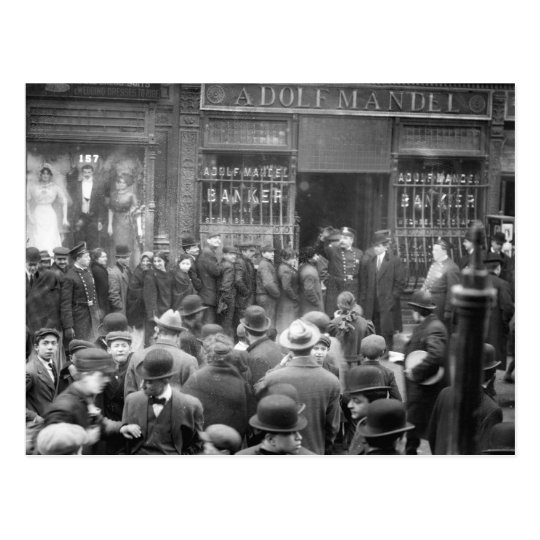 Run on East Side Bank, NYC, 1912 Postcard