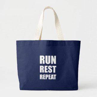 Run Rest Repeat Large Tote Bag