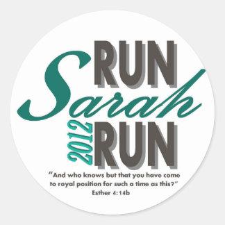 Run Sarah Run Classic Round Sticker