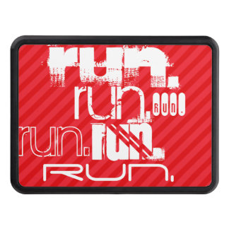 Run; Scarlet Red Stripes Tow Hitch Cover