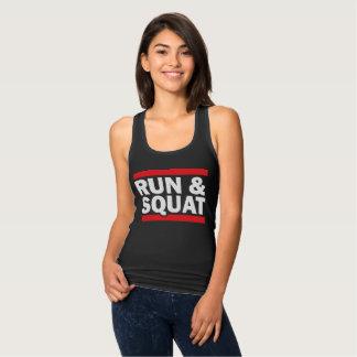 Run & Squat Fitness Graphic Tee Shirt on Dark