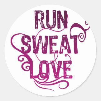 Run Sweat Love Round Sticker