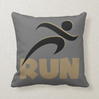 RUN Tan Throw Pillow
