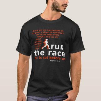 Run the Race Hebrews 12:1 dark-coloured t-shirt