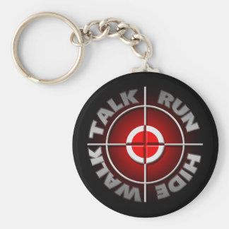 Run walk talk hide. basic round button keychain