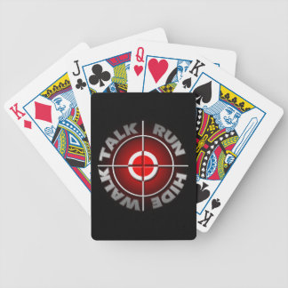Run walk talk hide. bicycle playing cards