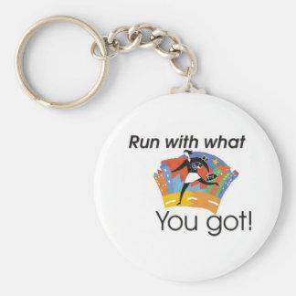 Run with what you got basic round button keychain
