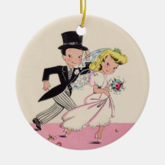 Runaway Bride & Groom Ceramic Ornament