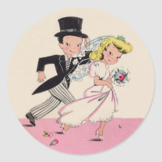Runaway Bride & Groom Round Sticker