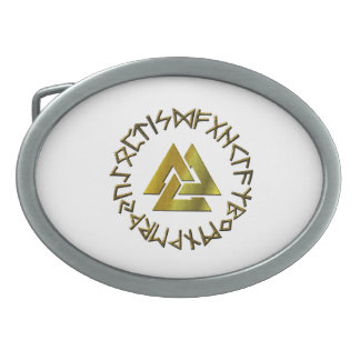 Rune Circle with Volknot Oval Belt Buckle