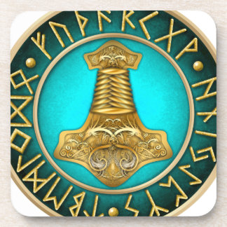 Runes - Thors Hammer - Teal Drink Coasters