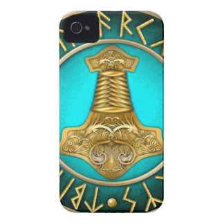 Runes - Thors Hammer - Teal iPhone 4 Covers