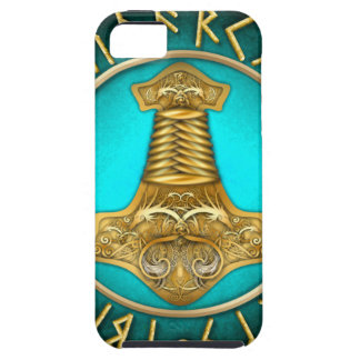 Runes - Thors Hammer - Teal iPhone 5 Cases