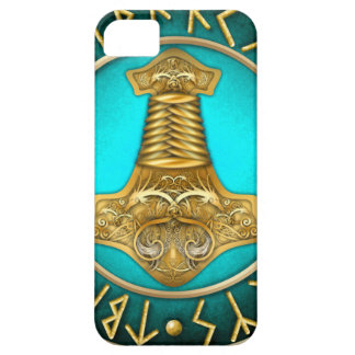 Runes - Thors Hammer - Teal iPhone 5 Covers