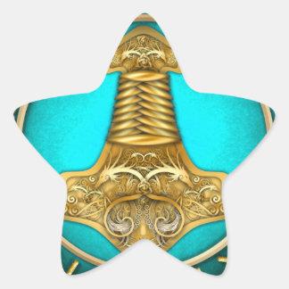 Runes - Thors Hammer - Teal Star Sticker