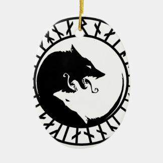 Runic Dire Wolf viking norse nordic runes Ceramic Ornament