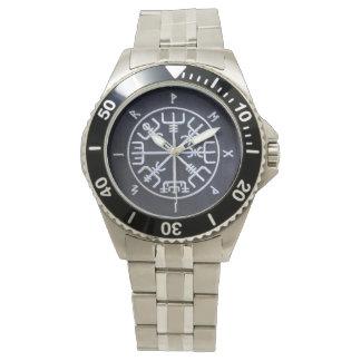 Runic Vegvísir Compass Stainless Steel Watch