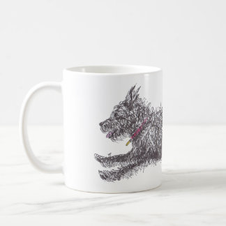 Runing Scruffy Black Terrier Mug
