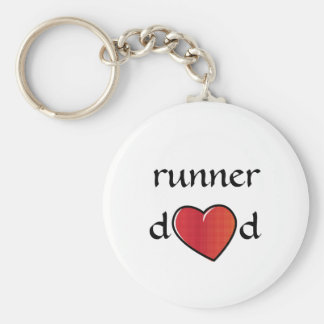 Runner Dad Red Heart Design Keychain