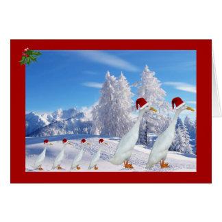 Runner duck santa hat greeting card