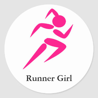 Runner Girl! Classic Round Sticker