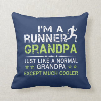 RUNNER GRANDPA THROW PILLOW