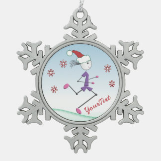 Runner Lady © PERSONALIZED Christmas Holiday Snowflake Pewter Christmas Ornament