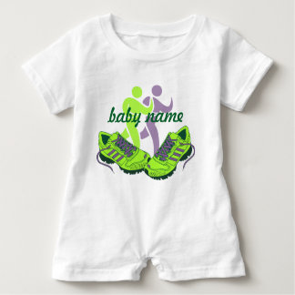 Runner Personalized Name Baby Romper