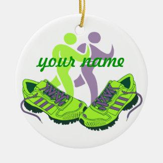 Runner Personalized Round Ceramic Ornament
