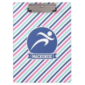 Runner, Running; Blue, Pink, & White Stripes Clipboards