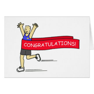 Runner with Congratulations banner. Card