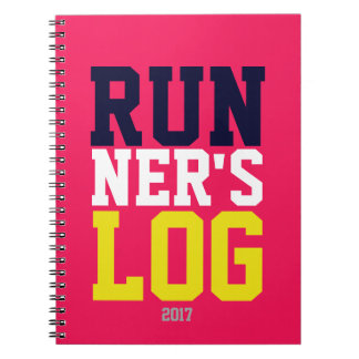 Runner's Log Pink Colourful 2017 Running Training Spiral Note Book