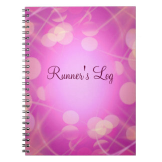 Runner's Log Pink Sparkly Running Spiral Journal Notebook