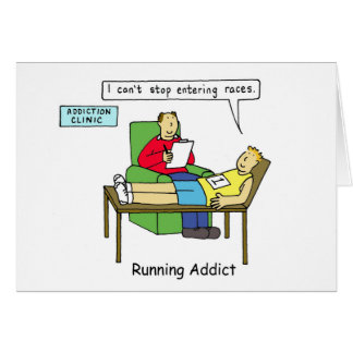 Running addiction, man in therapy. card