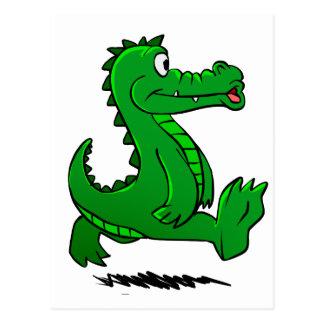 Running alligator postcard