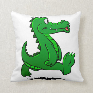Running alligator throw pillow